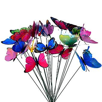Planter Colorful Whimsical Butterfly Steaks Outdoor Flower Pot Decoration