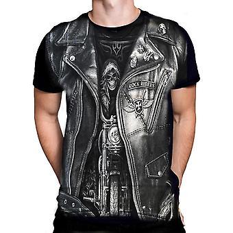 Aquila Rock Rider Heren Korte Mouw Crew Neck Zwart Katoenen T-Shirt