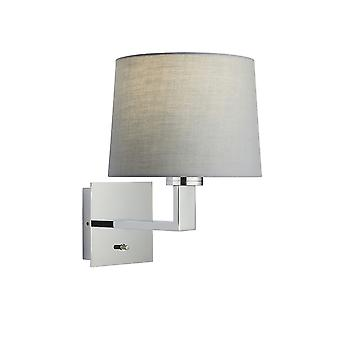 Wall Lamp Chrome Plate, Grey Fabric Round Shade With Usb Socket