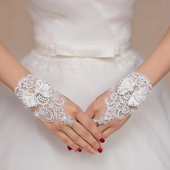 Beyaz Kısa Düğün Parmaksız Gelin Eldivenleri