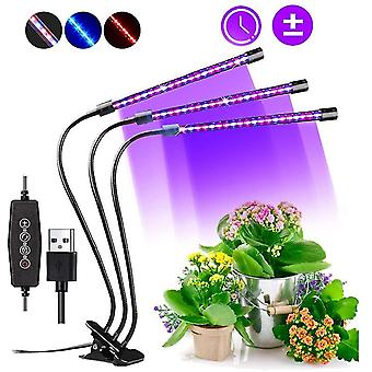 60 Led koko spektri säädettävä clip-on puutarhanhoitolamppu kasvilamppu 3 ajastin automaattinen päällä / pois toiminto dt7134