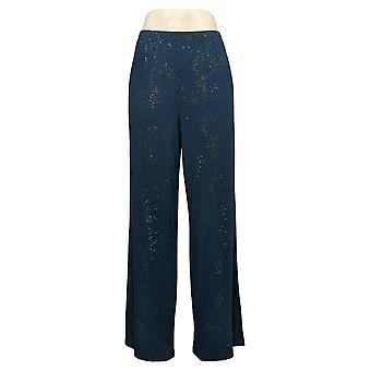 Antthony Women's Pants Reg Metallic Stars Pull-On Sparkle Blue 727322