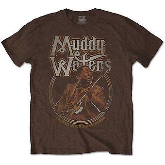 Muddy Waters - Père du Chicago Blues Men's X-Large T-Shirt - Brown