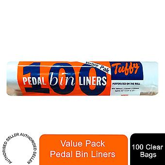 Tuffy Value Pack Pedal Bin Liners, Roll of 100 Clear Bags - 11cm x 17cm x 17cm