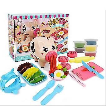 Bricolage couleur bande dessinée boue cochon nouilles couleur boue argile set play maison vaisselle jouets pour enfants az10802