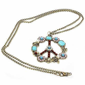 Women Necklace Inlaid Gemstone Turquoise Pearl Flower Peace Logo Alloy Pendant For Ball