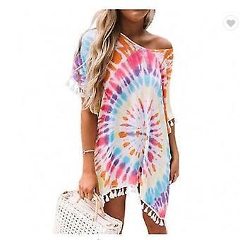 Boho Bedrukte Bikini Cover Up Suncreen Tassel Ball Beachwear Blouse