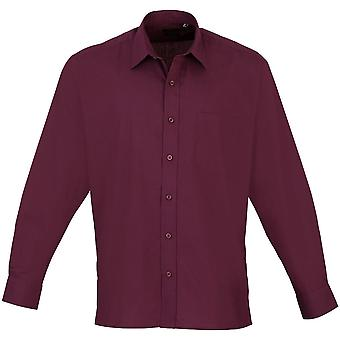 Premier Mens Long Sleeve Polycotton Poplin Formal Corporate Shirt