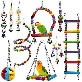 10 Pack Bird Cage Juguetes para loros Confiable Masticable Masticable Mordida Puente Cuentas de madera Bola Bell Juguetes