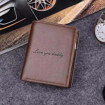 Nye brugerdefinerede tegnebøger mænd høj kvalitet pu læder indgraveret navn tegnebøger mænd kort pung personlighed tegnebog luksus fars dag gave