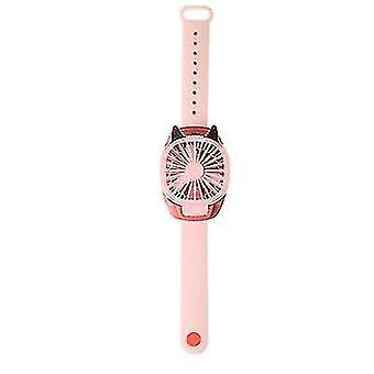 Portable USB Wrist Fan Mini Watch Fan Ventilator LED Light Fans Enfants (Rose)