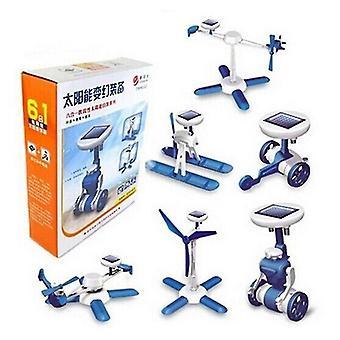 الروبوتية اللعب 6 في 1 طائرة الروبوت الشمسي طاحونة الهواء سيارة diy عدة