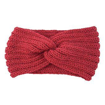 4PCS Otoño Invierno Crochet sólido tejer lana mujeres Diadema tejido cruz hecho a mano bandas para el cabello