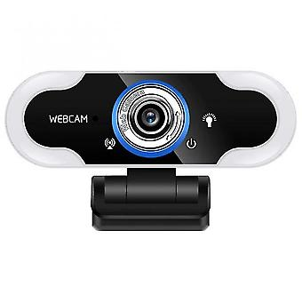 Webcam With Led Ring Fill Light Computer Mini Camera Usb Web Cam With Microphone Webcams(1080p)