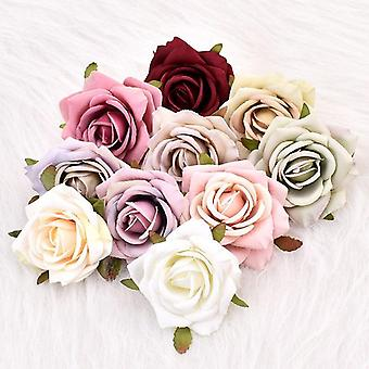 30Pcs white rose artificial silk flower heads decorative scrapbooking  for home wedding birthday decoration fake rose flowers