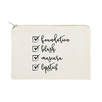 Make Up Check List- Sac cosmétique en toile de coton