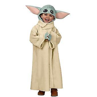 Star War Yoda Baby Cosplay Kostüm für Kinder Halloween Dress Up Outfits mit Hut (S 3 bis 4 Y)