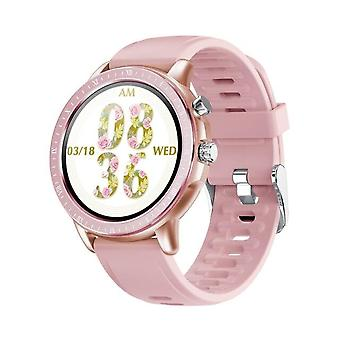 Smart Watch Women 1.3 Inch Full Touch Round Screen Fitness Tracker Smartwatch Watches(Pink)