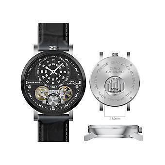 Carlo Cantinaro Black Genuine Leather CC1004GL007 Men's Watch