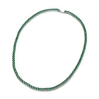 Simulovaný smaragdový tenisový náhrdelník 17.5 v postříbře