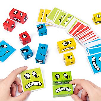 Face-changing Cube Building Blocks Wooden Expressions Matching Block Puzzles