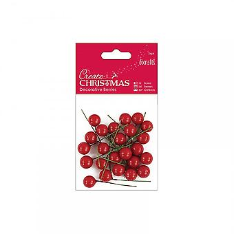 DoCrafts Decorative Red Berries 24 Packs***