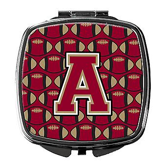 Letter A Football Garnet and Gold Compact Mirror