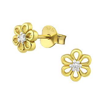 Blomst - 925 Sterling sølv Cubic Zirconia øret knopper - W23757x