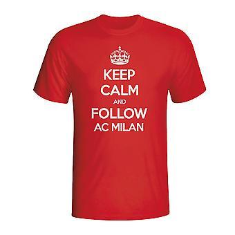 Houd kalm en volg Ac Milaan T-shirt (rood)