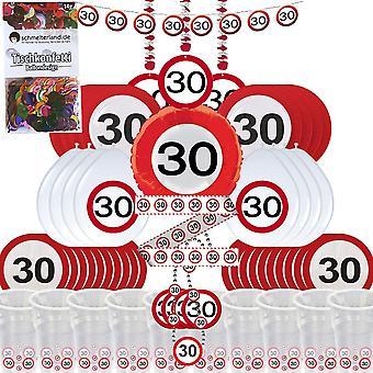 Festa caixa 30 aniversário 58-teilig Deco tráfego sinal pacote de festa