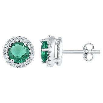 Lab Created Emerald 1.00 Carat (ctw) Solitaire Stud Earrings in 10K White Gold with Diamonds 1/6 Carat (ctw)