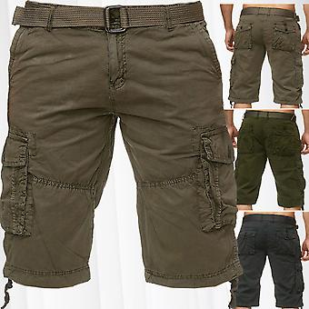 Men's Cargo Trousers Shorts Including Belt Bermuda Cotton Short Chino Outdoor