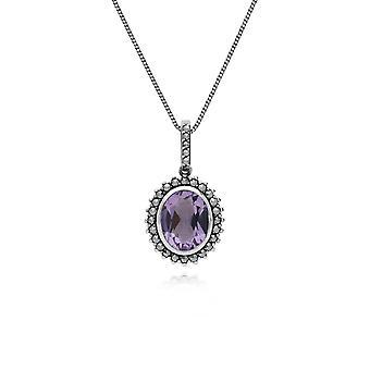 art deco stil oval ametyst & marcasite halo anheng halskjede i 925 sterling sølv 214P301402925