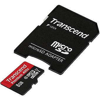 Transcend Premium 400 x microSDHC kaart 8 GB Class 10 UHS-I incl. SD adapter