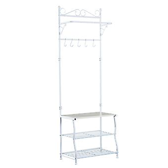 HOMCOM Entryway Multipurpose Metal Cloth Stand 3 Tier Shoe Rack w/ 5 Hooks - White