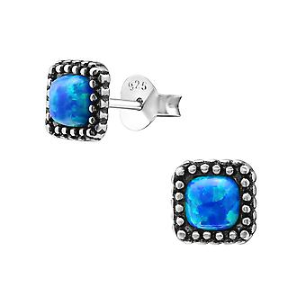 Square - 925 Sterling Silver Opal and Semi Precious Ear Studs - W23680X