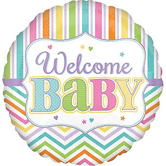 Anagram 18in Circular Welcome Baby Patterned Foil Balloon