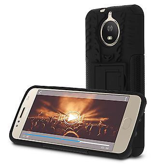 Caso di supporto antiurto, Backcover per Motorola Moto G5S & cavalletto - nero