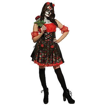 Rød Rose voksen Totenkopf kle dag i dead drakt damene