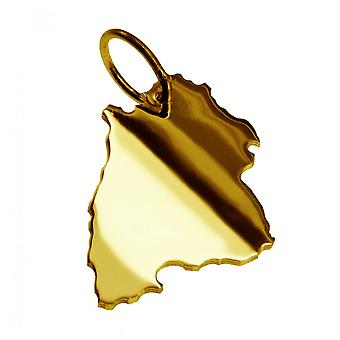 Trailer map pendants in gold yellow-gold in the form of Baden-Württemberg