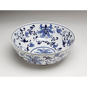 AA Importing 59879 14 Inch Blue And White Bowl