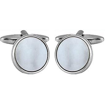 David Van Hagen Rhodium Plated Mother of Pearl Round Porthole Cufflinks  - White/Silver