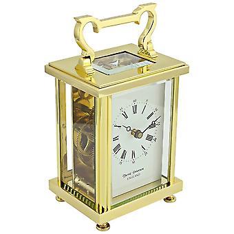 David Peterson Flat Brass 8 Day Mechanical Carriage Clock - Gold