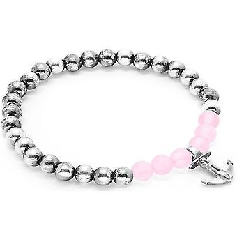 Horgony és a legénység Keel ezüst és Rose kvarc kő karkötő-Pink/Silver