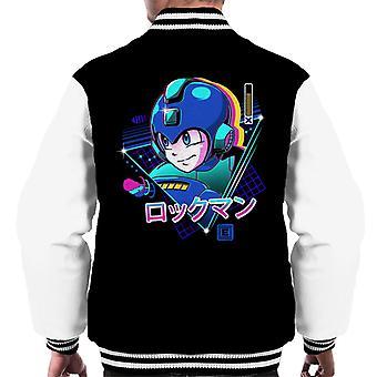 Retro 80s Mega Man Blue Bomber Men's Varsity Jacket