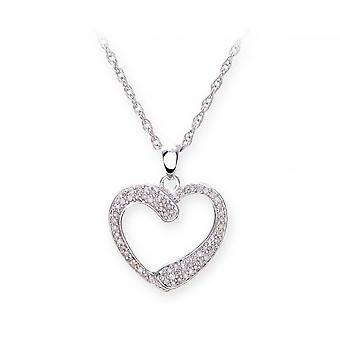 Star Wedding Rings Sterling Silver Necklace With Diamond Set Heart  Shape Pendant