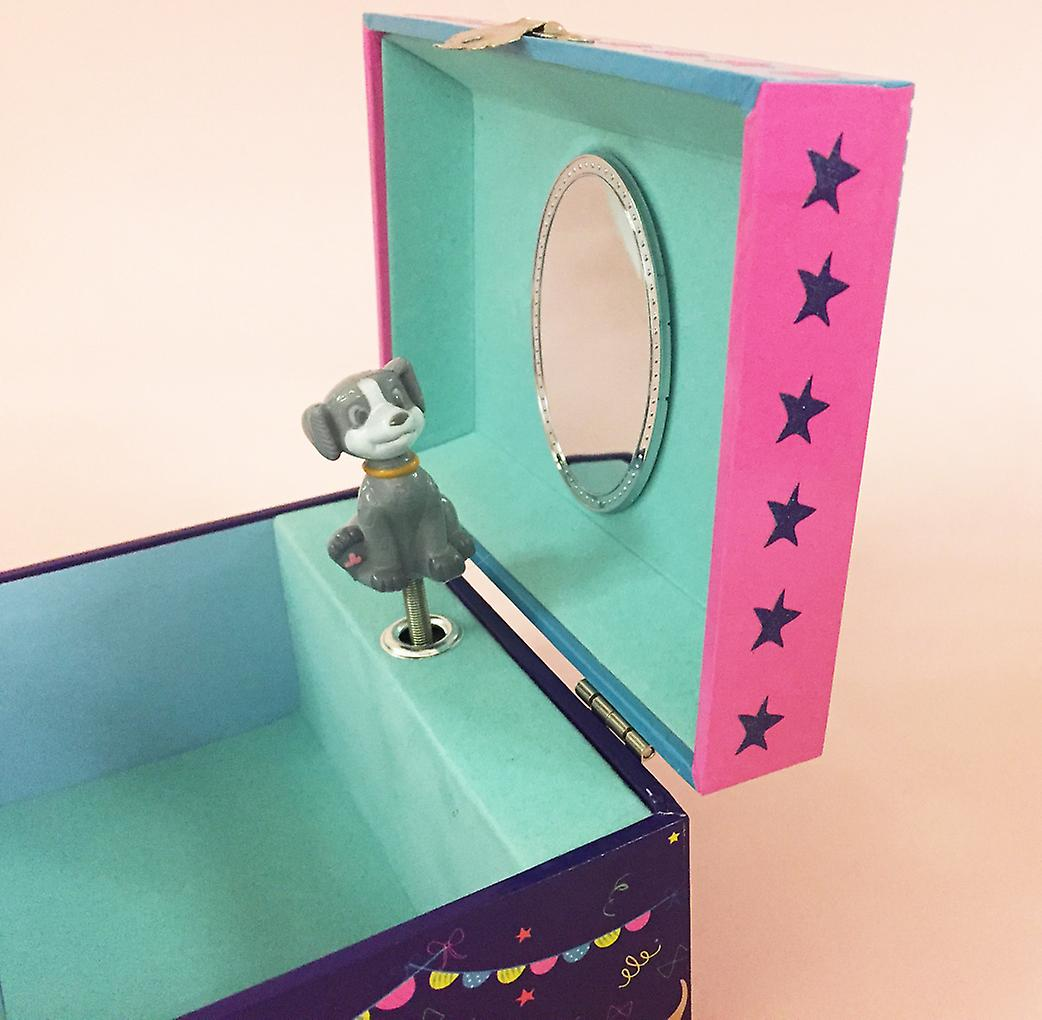 Childrens pets musical jewellery box and silver crystal dog necklace set