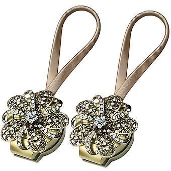 TRIXES 2PC Bronze Blume magnetische Vorhang Tie Rücken Diamante Deta