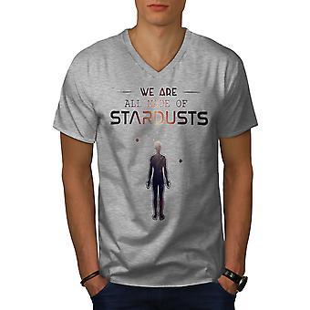 Astromomy Stardust Men GreyV-Neck T-shirt | Wellcoda