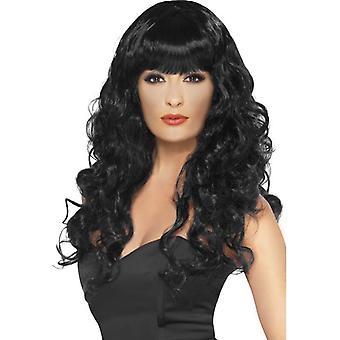 منذ وقت طويل أسود مموج شعر مستعار، شعر مستعار صفارة الإنذار، ملابس تنكرية التبعي، نجم السينما.